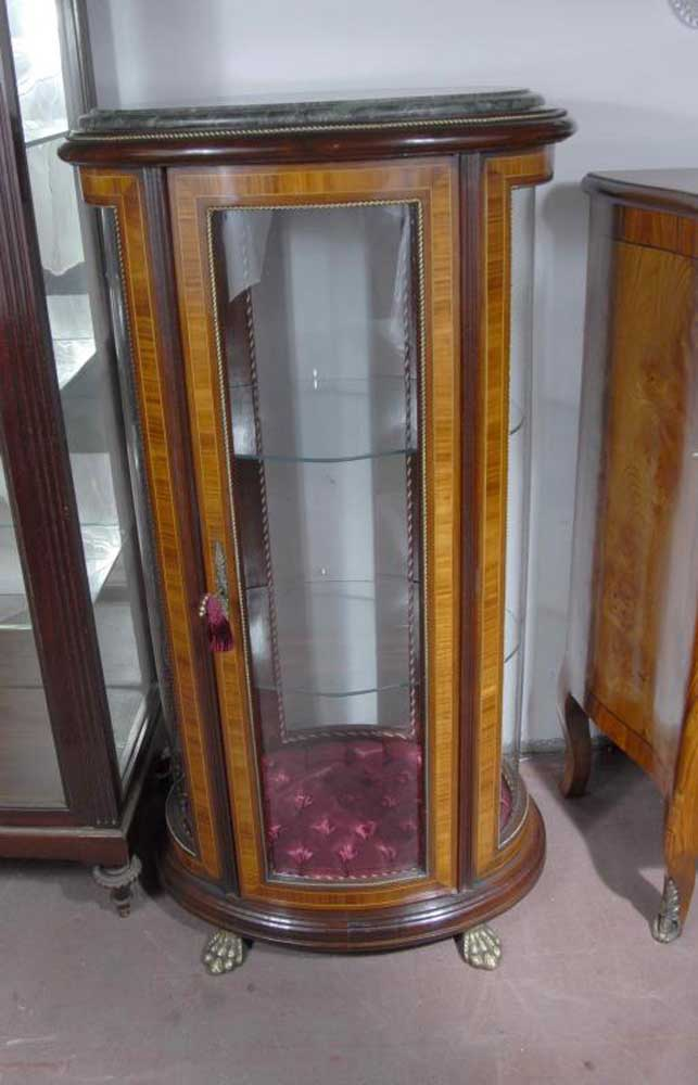 french empire round glass display jewellery cabinet bijouterie