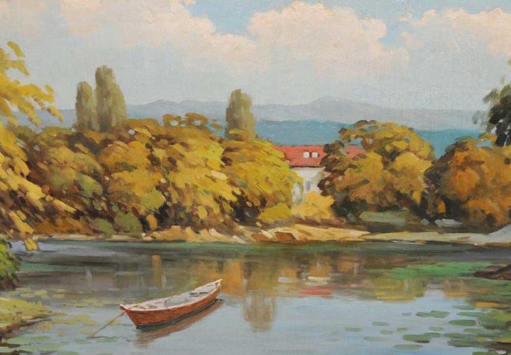 French Impressionist Oil Painting Pastoral Landscape Gilt