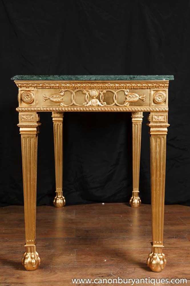 French Napolean I Neo Classical Gilt Console Table Hall Tables