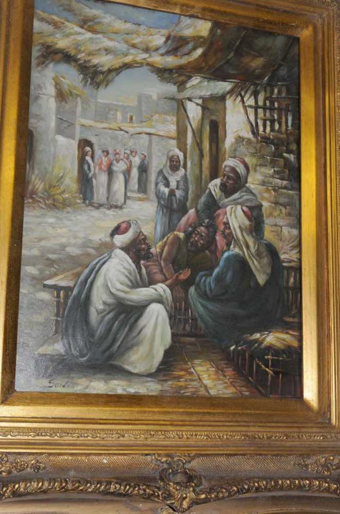 French Oil Painting Arab Portrait Scene North African