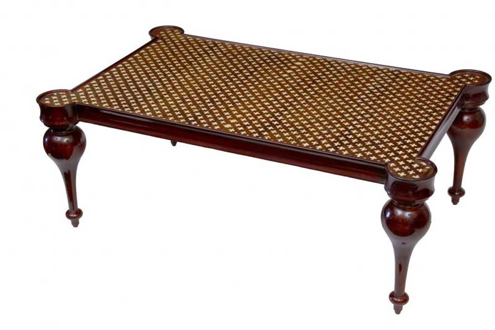 French Regency Bone Inlay Coffee Table Arabesque Cocktail Tables