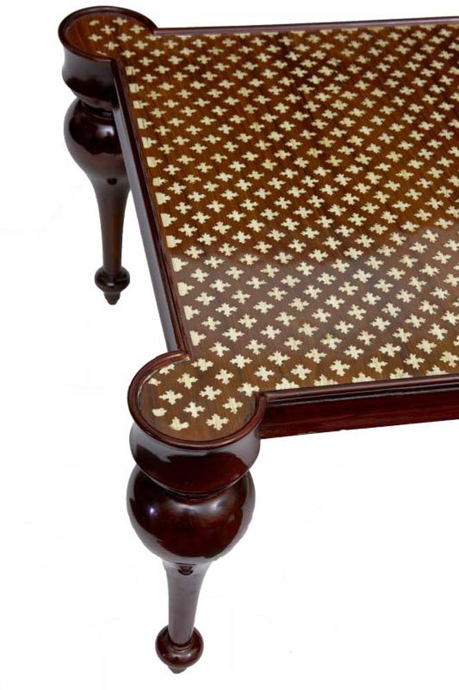 French Regency Bone Inlay Coffee Table Arabesque Cocktail