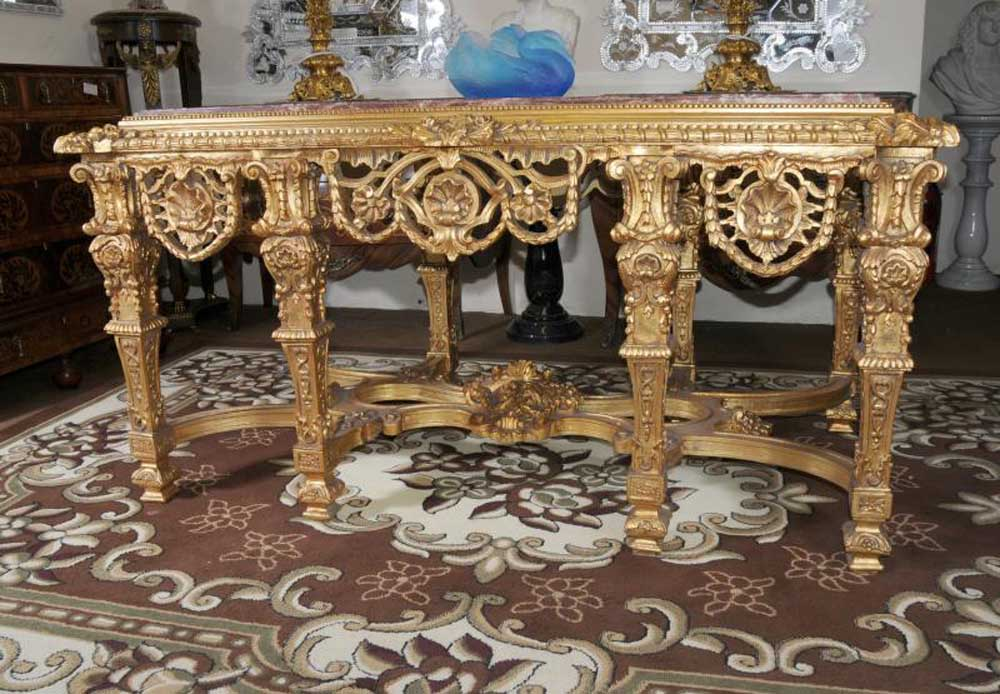 French Rococo Gilt Console Hall Table Marble Top