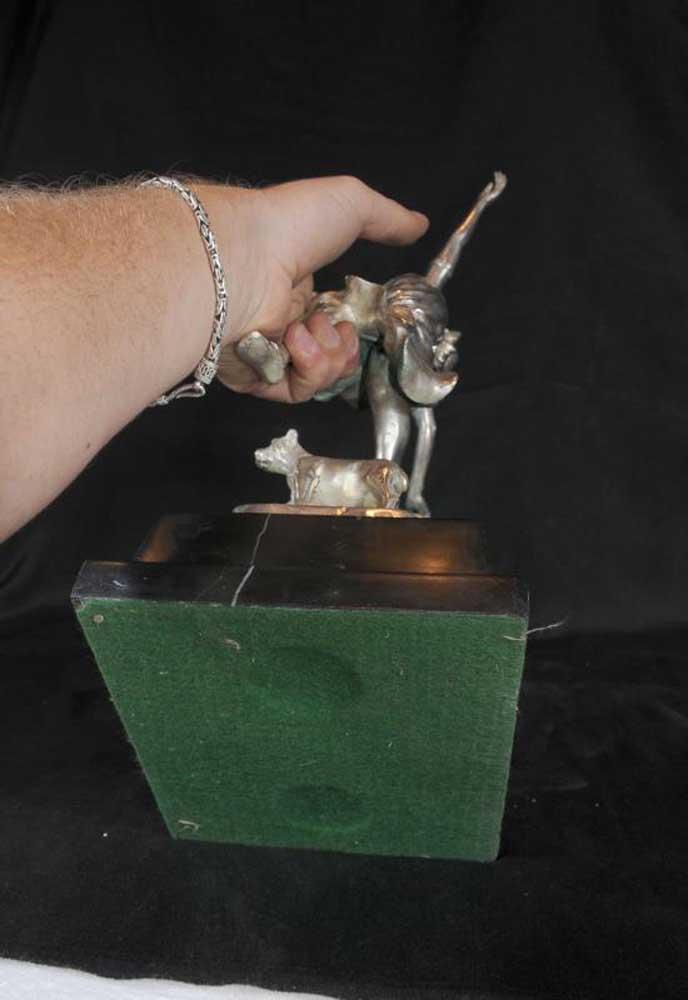 French Silver Bronze Art Deco Dog Dancer Figurine