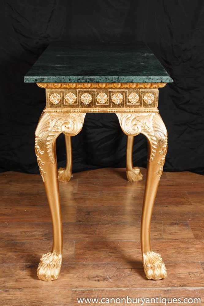 George Ii Gilt Console Table Carved Marble Top