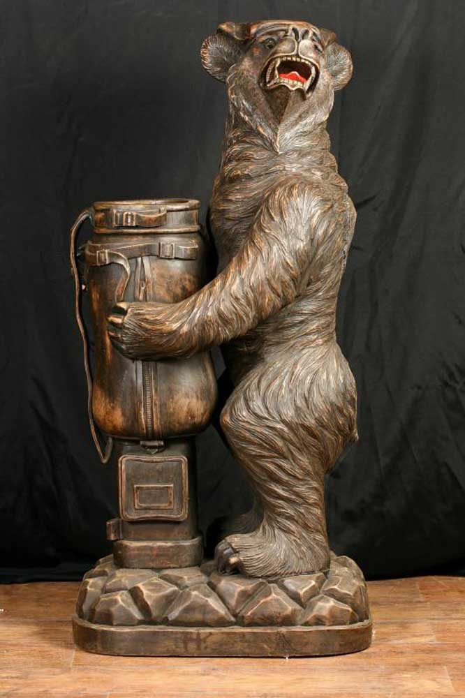 German Black Forest Bear Umbrella Stand Statue Carved