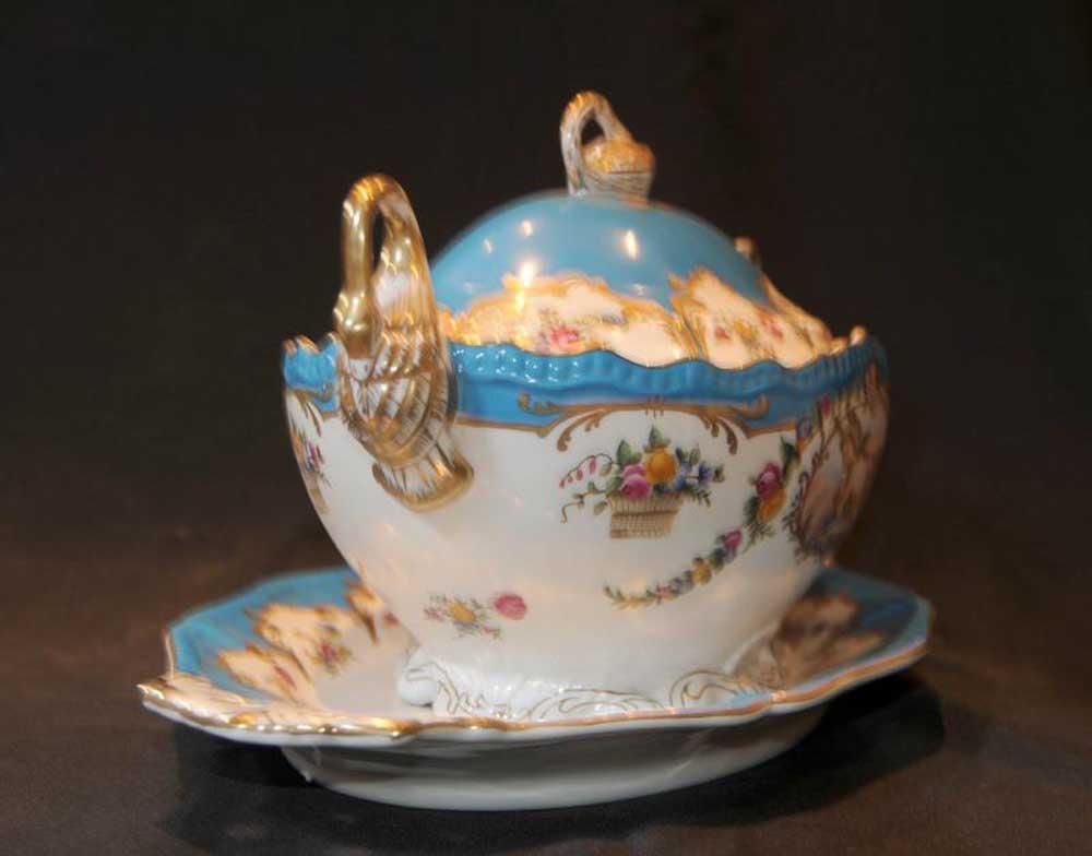 German Dresden Porcelain Tureen Pottery China Cherub
