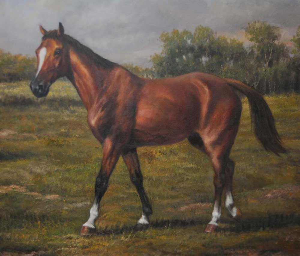 Horse And Pony Victorian Oil Painting Pastoral Landscape