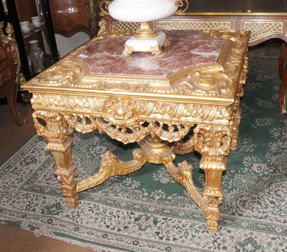 Italian baroque gilt centre table marble top hand carved