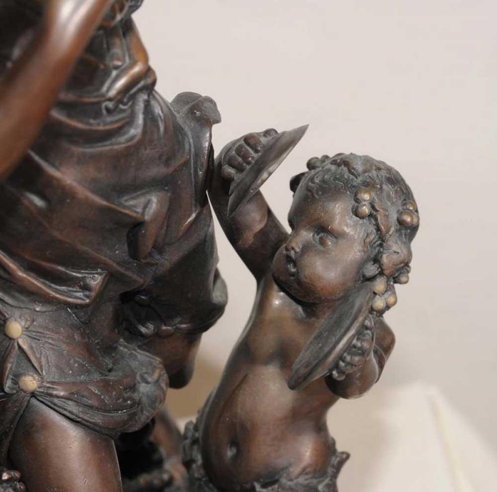 Italian Bronze Bacchus Maiden Cherub Statue Signed Dela