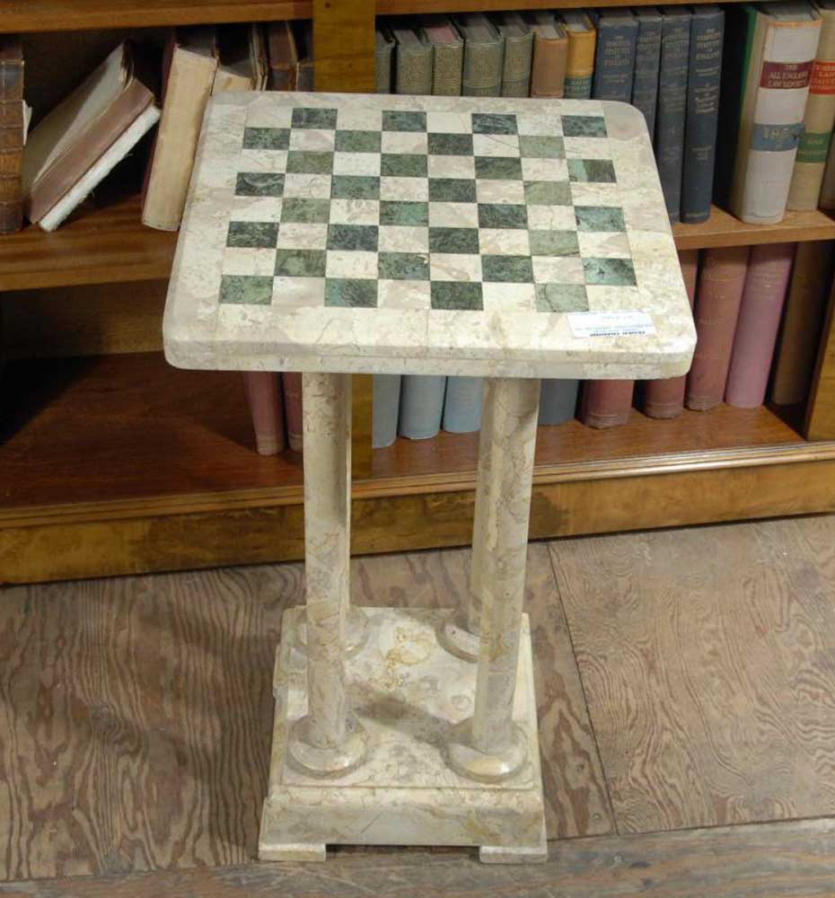 Italian Marble Chess Games Side Table Tables