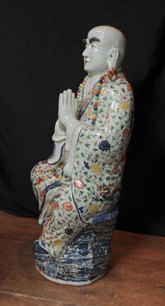 Japanese Satsuma Porcelain Buddha Statue Buddhist Figurine