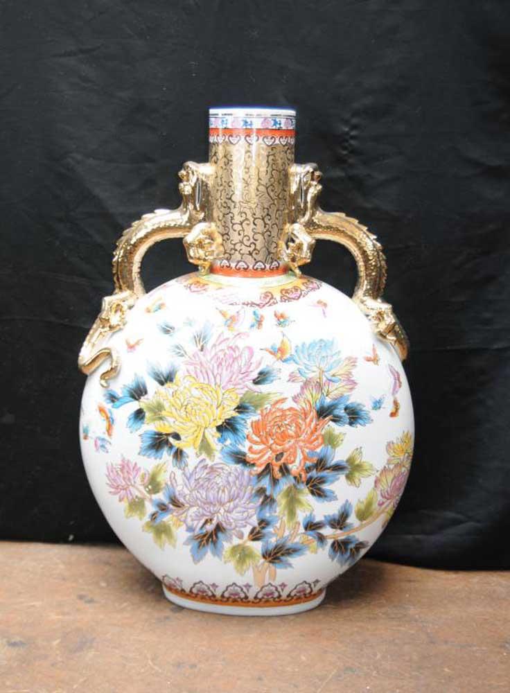 Japanese Satsuma Porcelain Ceramic Medallion Urn Vase