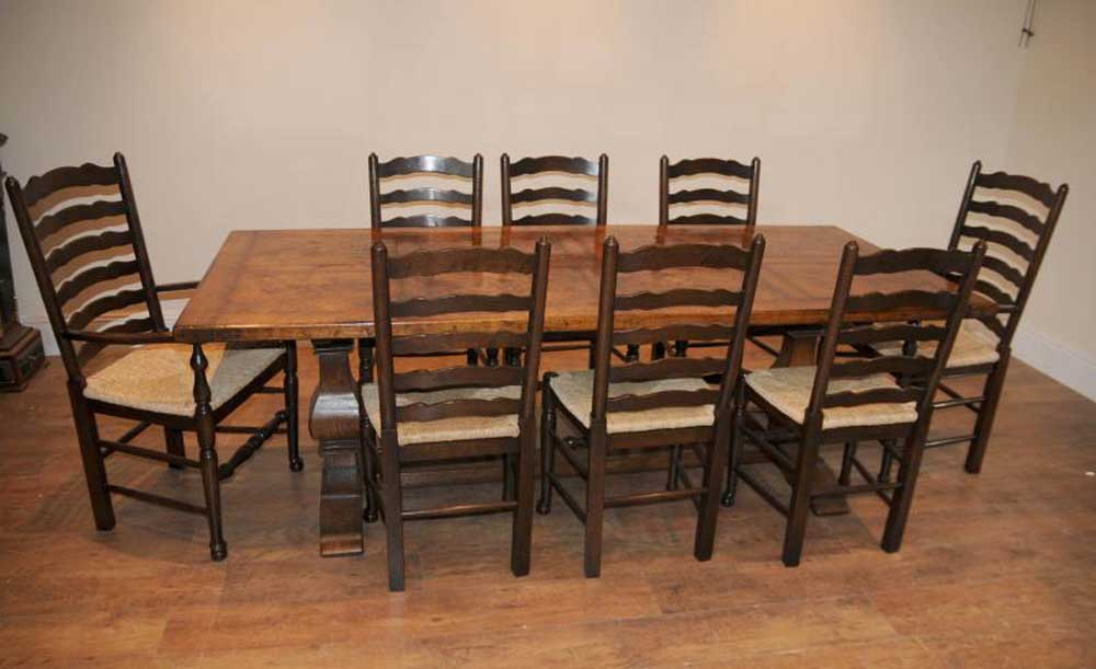 Ladderback chair refectory table kitchen dining set farmhouse for Farmhouse dining set