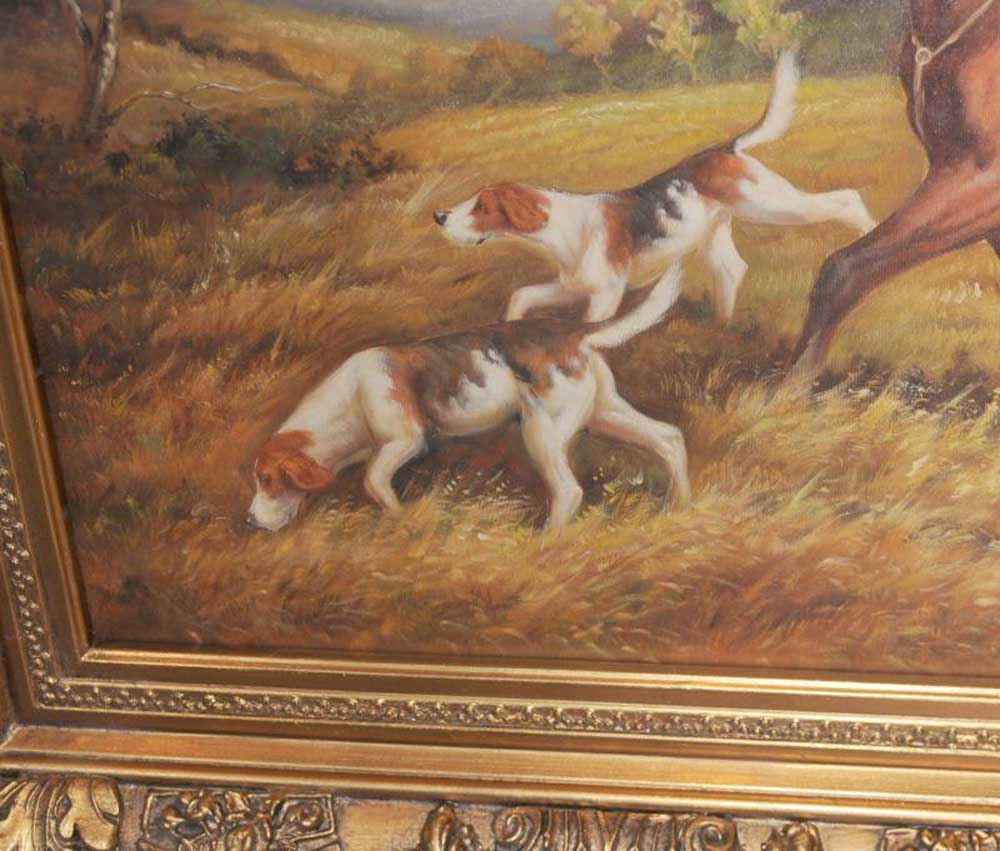 Landscape Oil Painting English Fox Hunt Horse Hunting