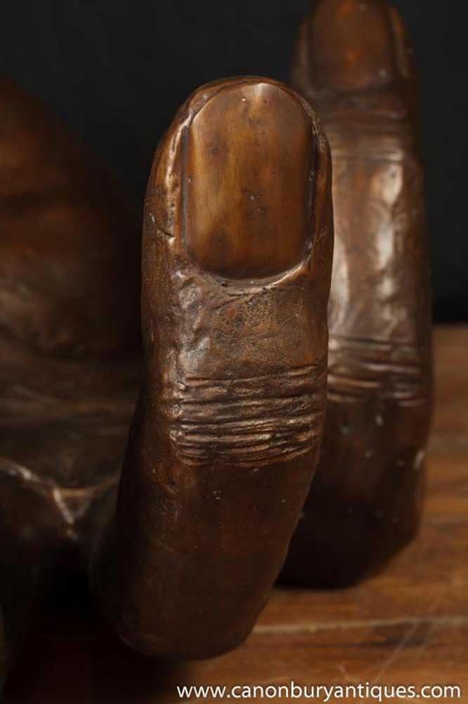 Large Antique Bronze Hand Sculpture Architectural Casting