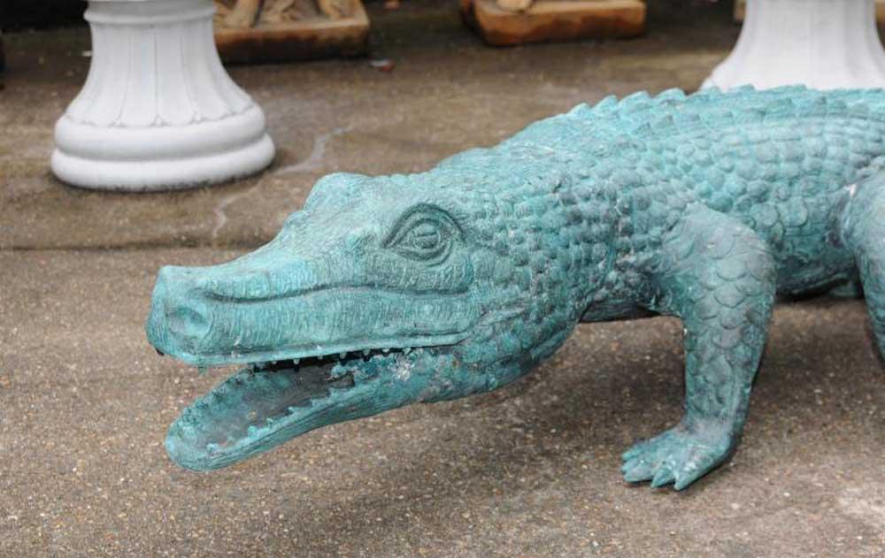 large bronze crocodile alligator statue garden art. Black Bedroom Furniture Sets. Home Design Ideas