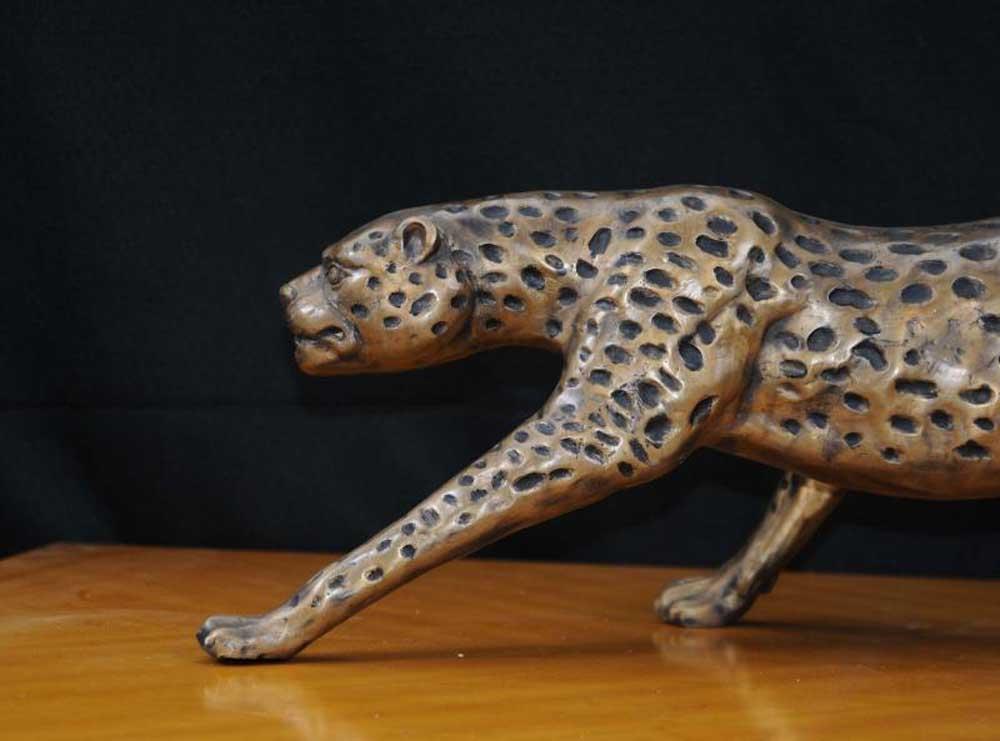 large deco bronze statue cheetah cat leopard cats animals. Black Bedroom Furniture Sets. Home Design Ideas