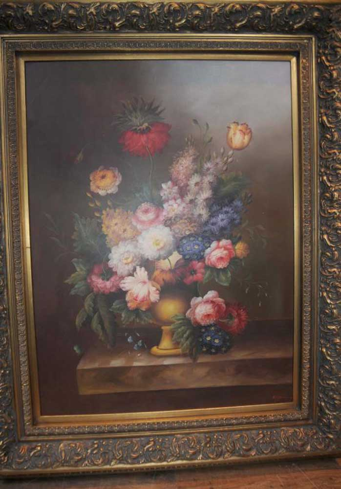 Large Dutch Oil Painting Floral Still Life Art Gilt Frame