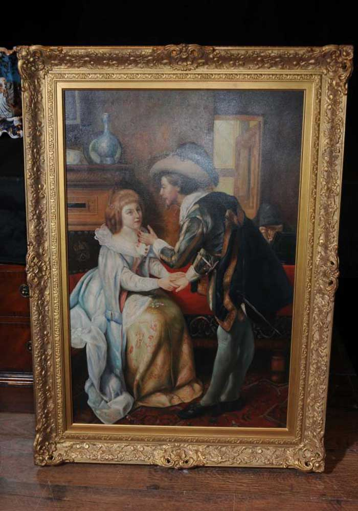 Large Dutch Oil Painting Romantic Couple Portrait Gilt Frame