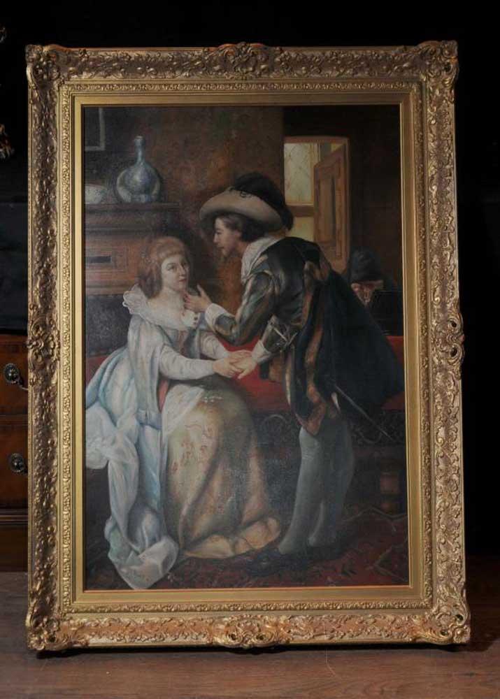 Large Dutch Oil Painting Romantic Couple Portrait Gilt Frame