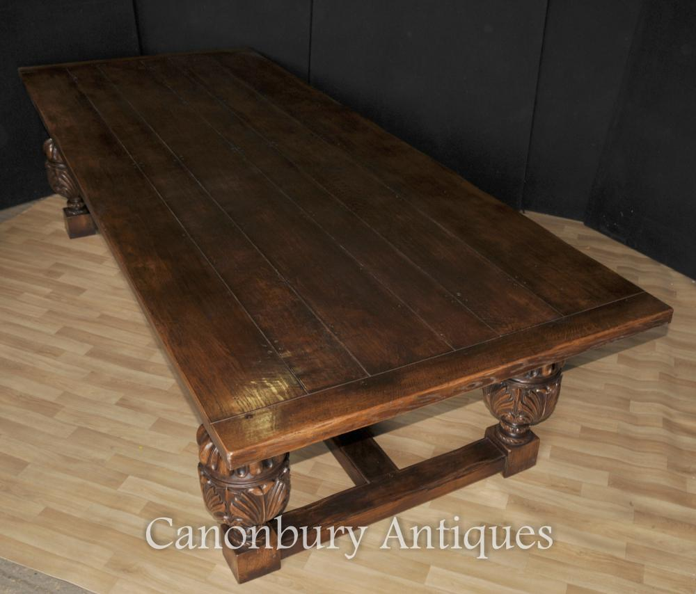 Large French Farmhouse Refectory Oak Table Dining Tables  eBay