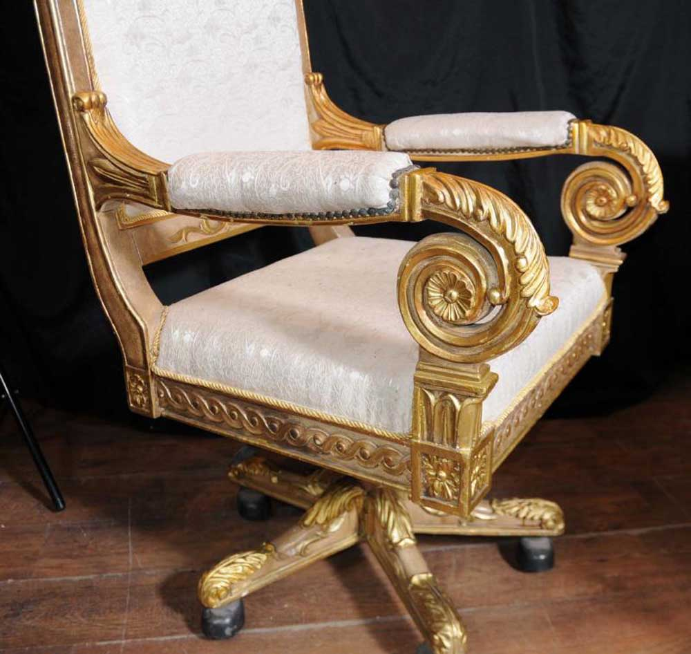 Large French Gilt Swivel Office Arm Chair Throne Fauteil