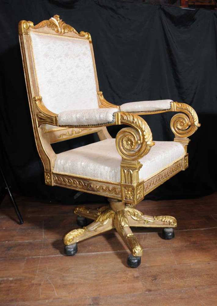 Large French Gilt Swivel Office Arm Chair Throne Fauteil ...