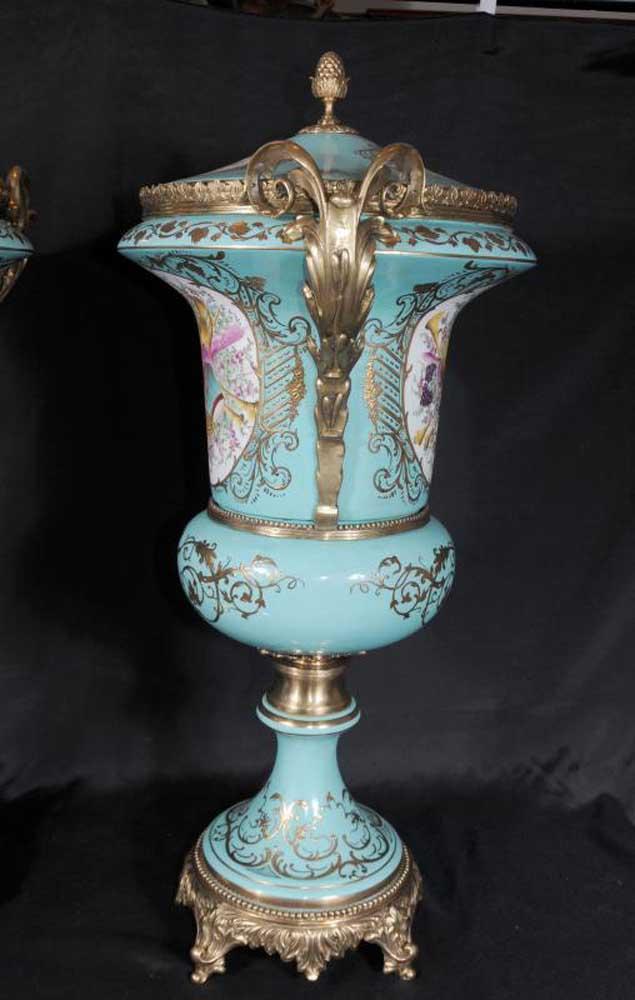 Large German Dresden Porcelain Floral Urns Vases