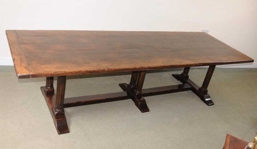 Large Italian Refectory Table Beach Wood Farmhouse Kitchen Trestle Dining Ebay