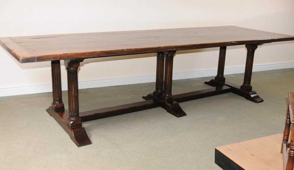 Italian Refectory Table Beach Wood Farmhouse Kitchen Trestle Dining