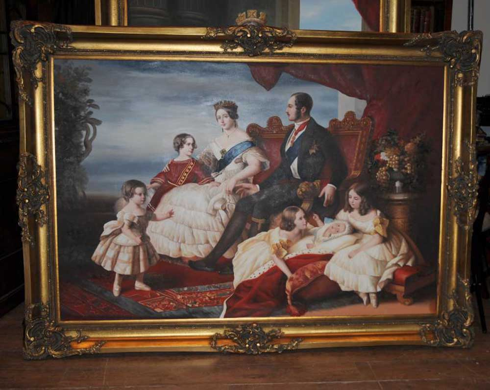 Large Oil Painting Queen Victoria Prince Albert Monarchy