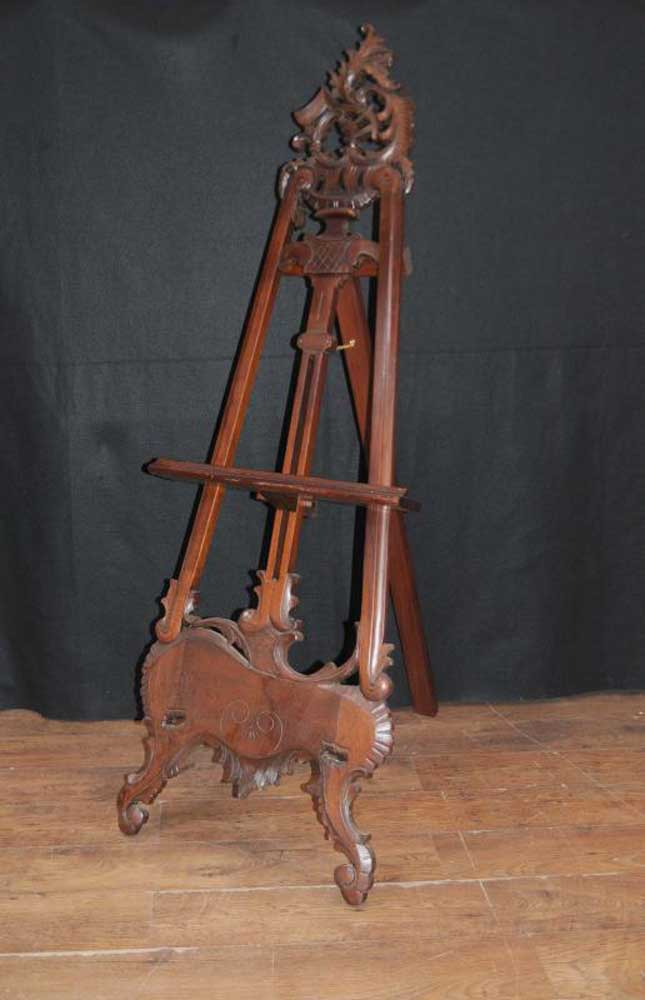 Large Victorian Mahogany Easel Painting Stand Artist