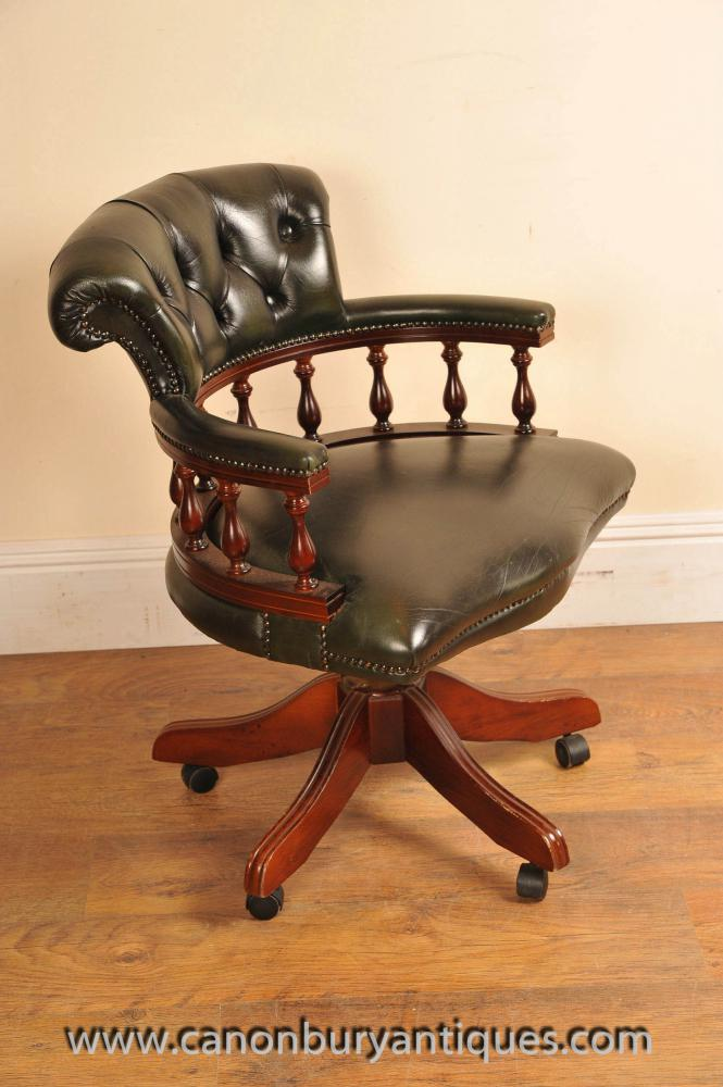 Leather captains tub chair swivel office for Leather swivel tub chair
