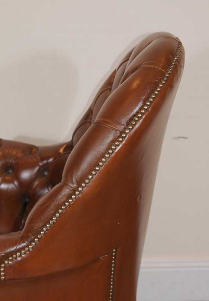 Leather Gainsborough Bucket Office Arm Chair Armchair