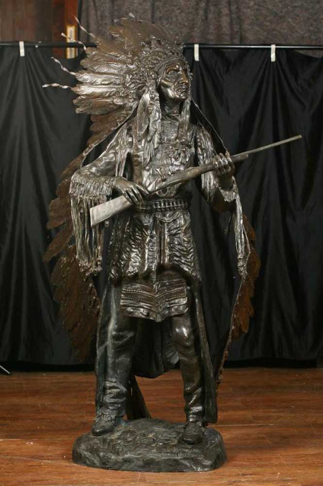 Lifesize Bronze Native American Indian Chief Architectural