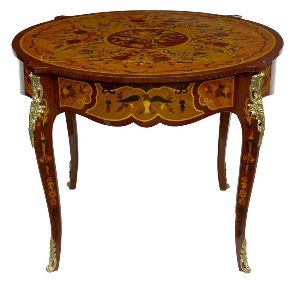 louis xv round centre table marquetry inlay french furniture. Black Bedroom Furniture Sets. Home Design Ideas