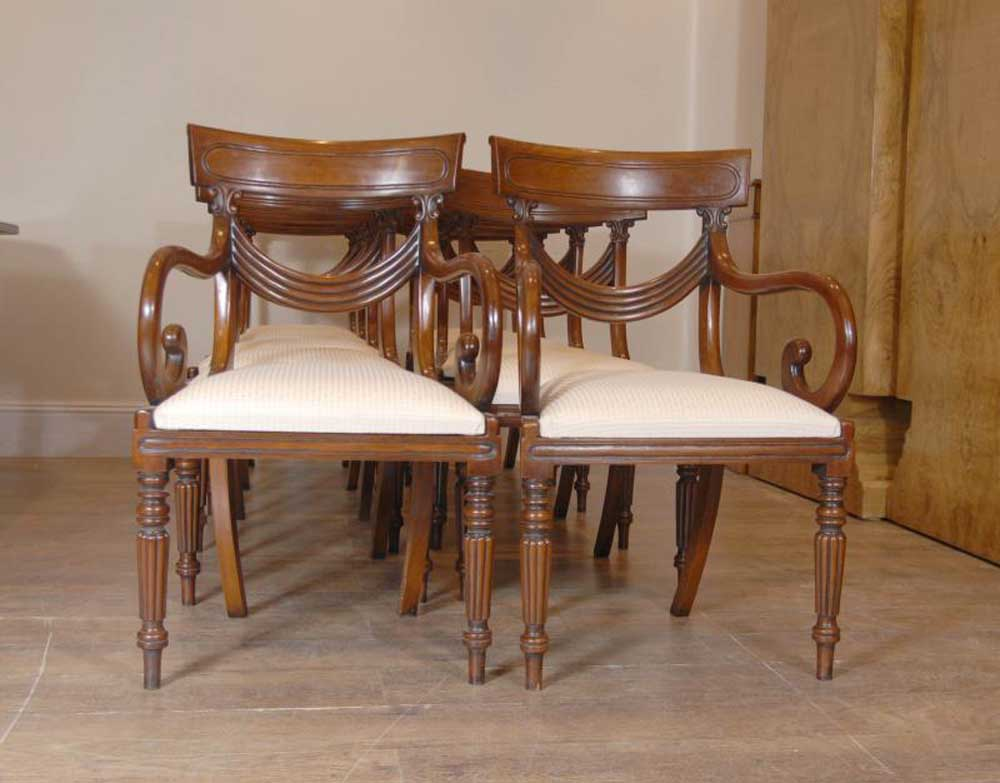 Luxury Regency Table Amp Swag Chair Dining Set