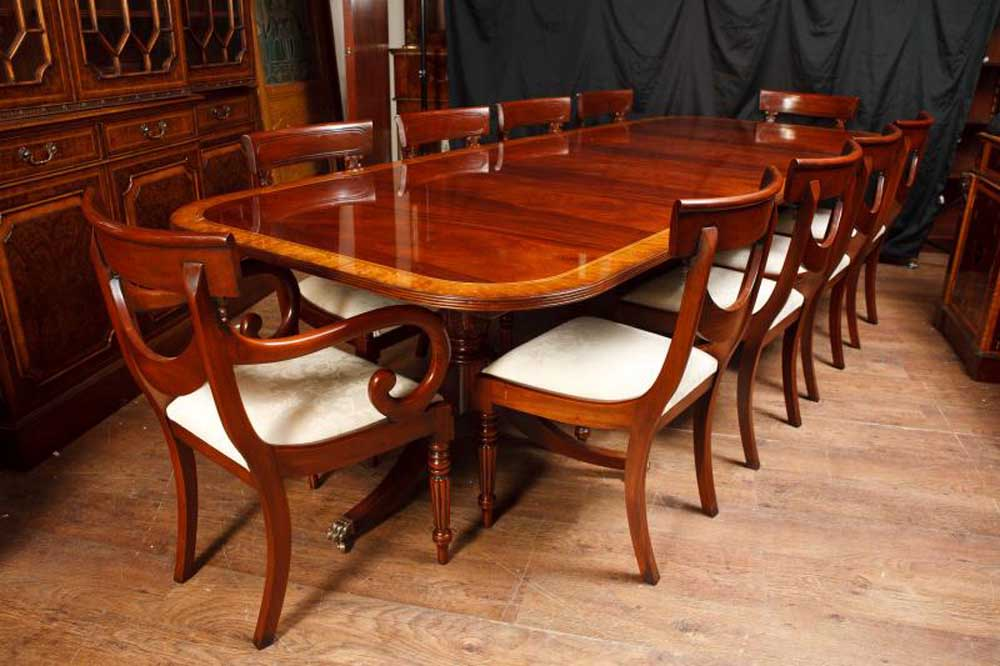 Mahogany Regency Dining Set Pedestal Table Matching Swag Chairs