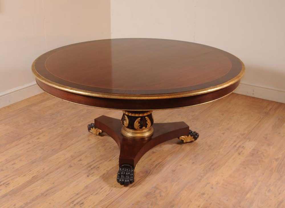 Mahogany regency round centre table dining tables for Mahogany dining table