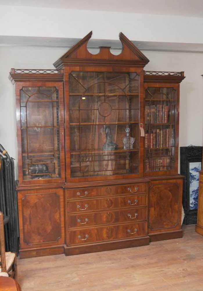 Mahogany Victorian Breakfront Bookcase Gothic Bookcases