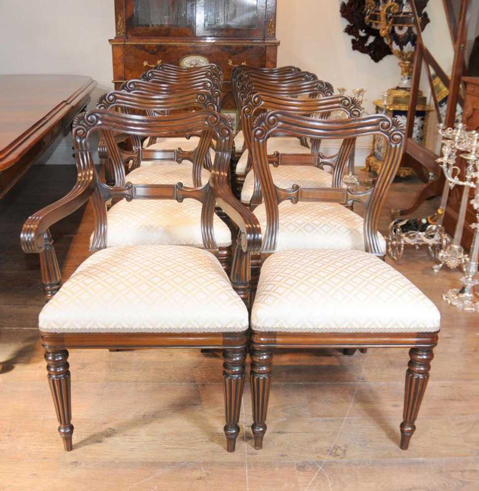 Regina Mahogany Traditional Dining Set: Mahogany Victorian Dining Table Chairs Set