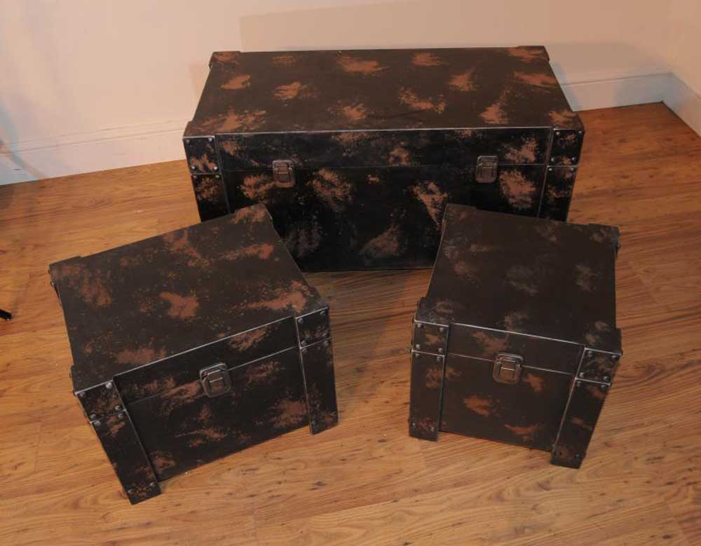 Metal trunk luggage set coffee side tables table Metal chest coffee table
