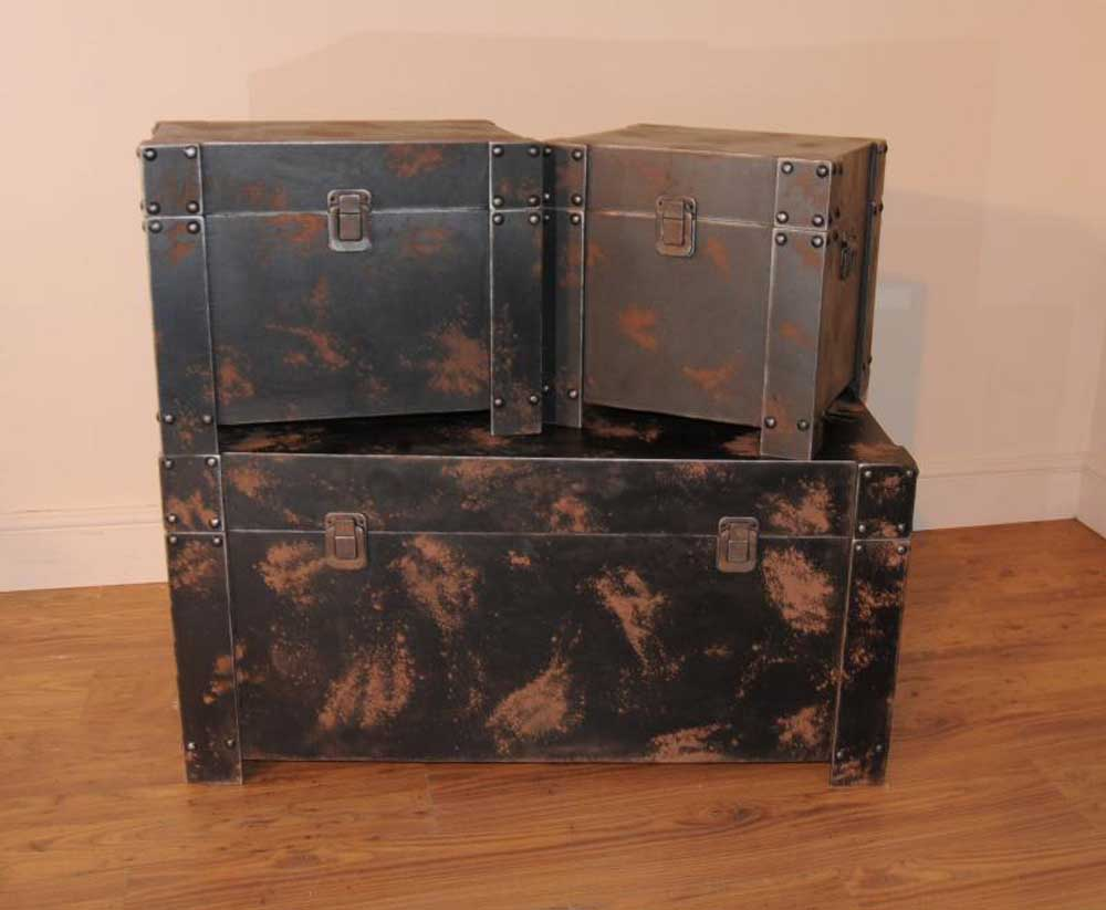 Metal Trunk Luggage Set Coffee Side Tables Table