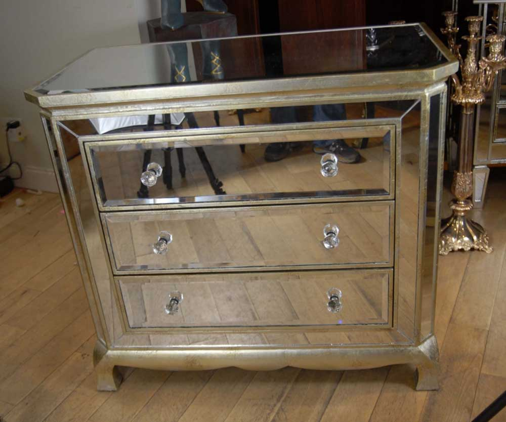 Mirror art deco chest drawers cabinet commode for Commode miroir art deco