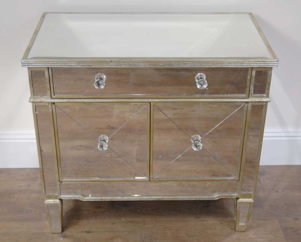 Mirrored art deco chest drawers cabinet commode for Commode miroir art deco