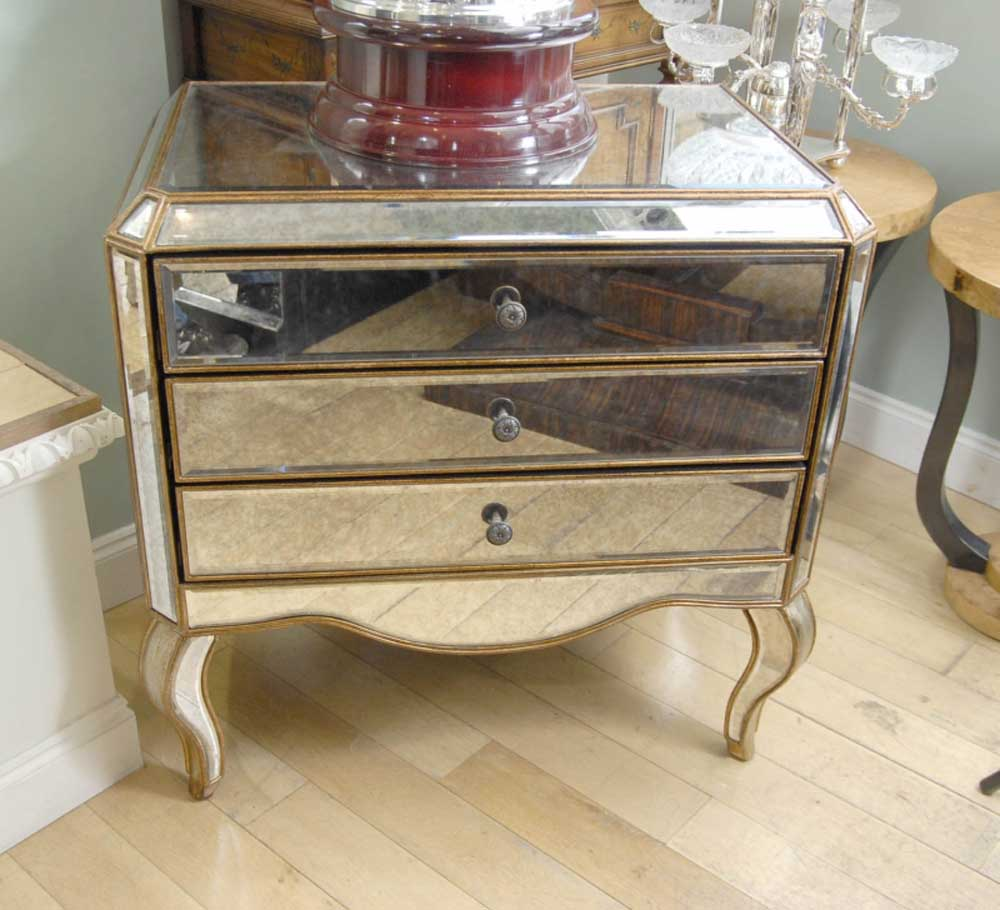 mirrored art deco chest drawers commode mirror furniture. Black Bedroom Furniture Sets. Home Design Ideas