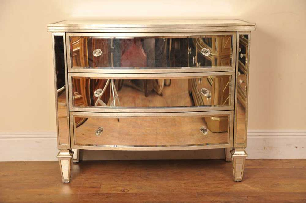 Mirrored bow chest drawers art deco furniture for Meuble art deco occasion