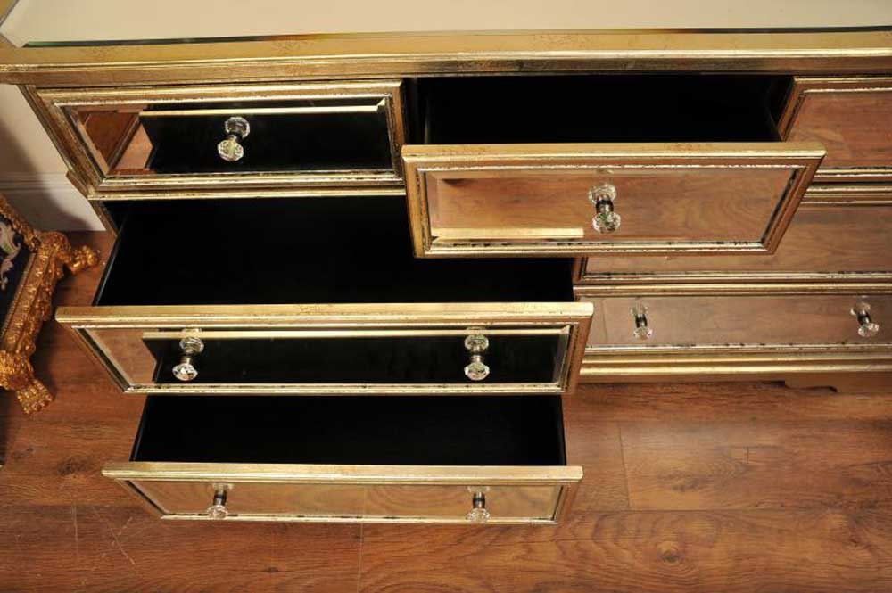 Mirrored Chest Sideboard Buffet Server Art Deco Drawers