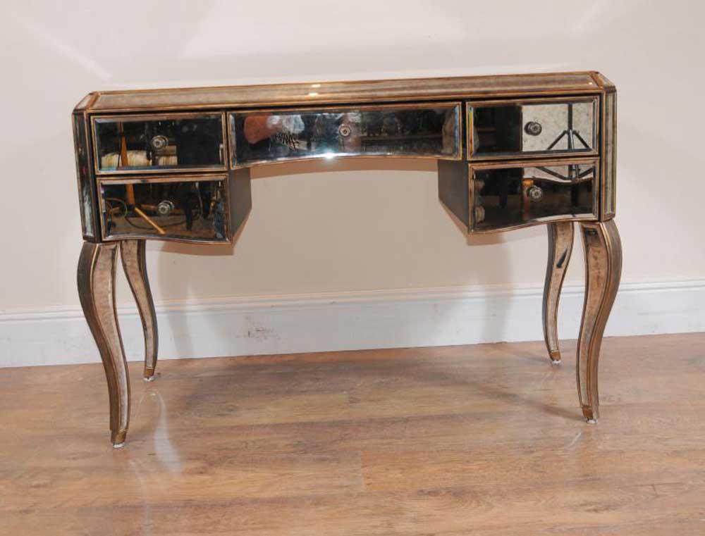 Mirrored desk bureau plat writing table deco mirror for Bureau with mirror